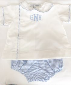 Shrimp grits kids boys smocked and appliques kids clothing monogrammed boys diaper set personalized baby gifts personalized baby outfit baby boy bubble blue diaper set with monogram twins negle Images