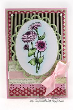 Colouring Flourishes Flower Stamps with Pink Copic Markers- Coloured by the talented Kathy Jones. Flower Stamp, Flower Cards, Colored Pencil Tutorial, Oval Frame, Color Blending, Diy Cards, Handmade Cards, Copic Markers, Copics
