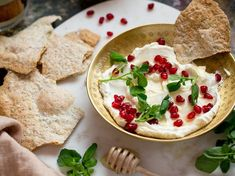 This home-made labne and lavosh recipe is not only economic but delicious. For beautiful creamy labne, which again takes two minutes' preparation . Lavosh Recipe, Cooking Cookies, Pomegranate Seeds, I Want To Eat, Serving Dishes, Finger Foods, Healthy Recipes, Snacks, Homemade