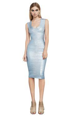 Wholesale Herve Leger Celebrity Bandage Dress Metallic U Neck Bluish Silver Designer Evening Gowns, Designer Dresses, Dress Outfits, Dress Up, Bodycon Dress, Dresses For Less, Dresses For Sale, Macrame Dress, Herve Leger Dress