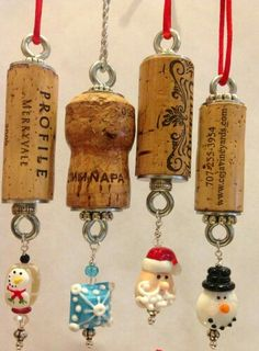 CHRISTMAS Authentic Wine Cork Ornament Snowman Collectible Gift