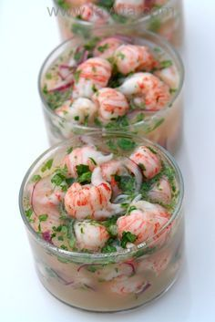 Langostino ceviche - Laylita's Recipes - Atıştırmalıklar - Las recetas más prácticas y fáciles Fish Recipes, Seafood Recipes, Mexican Food Recipes, Cooking Recipes, Healthy Recipes, Mexican Desserts, Freezer Recipes, Freezer Cooking, Cooking Tips