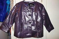 NWT Women's Newport News Purple genuine leather coat/jacket, crop sleeve size 12