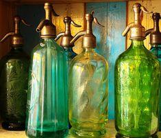 Vintage Seltzer Glass, Emerald Green, Jade Green, Moss, Pistachio, Bottles , France, Paris Flea Market Finds, Kitchen Art,Paris Kitchen Art