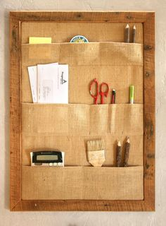 Burlap Pocket Bulletin Board  Office di GrindstoneDesign su Etsy
