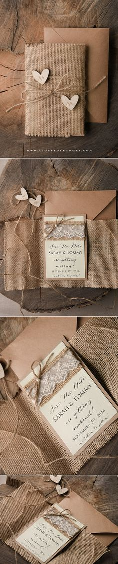 30 Gorgeous Rustic Burlap Wedding Ideas – MonogramWorks – Personalized Bridal Party Gifts 30 Gorgeous Rustic Burlap Wedding Ideas Burlap Wedding invitations and Save the Date Card with wooden tags Burlap Wedding Invitations, Wedding Stationary, Diy Invitations, Invitation Ideas, Invites, Indian Wedding Invitations, Floral Invitation, Invitation Suite, Invitation Design