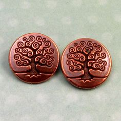 TierraCast Tree Of Life Button Antique Copper 2Pc TC12 by FabBeads