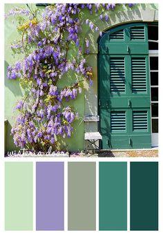 wisteria door #wisteria #door #purple #flowers #green #color #scheme