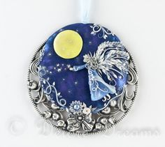 Fairy Pendant, Angel Pendant, Fantasy Pendant, Pagan Pendant, Moon Goddess, Polymer Clay Pendant, Wearable Art Jewelry, Halloween Jewelry