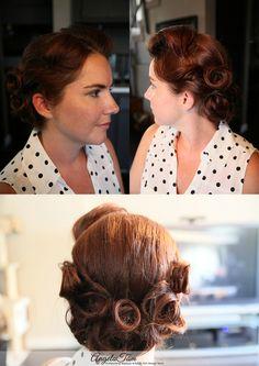 PINUP VICTORY ROLLS HAIR STYLIST >> ANGELA TAM |KATIE – BRIDAL HAIR DESIGN SESSION | LOS ANGELES ROCKABILLY PINUP MAKEUP ARTIST » Angela Tam | Makeup Artist & Hair Stylist Team | Wedding & Portrait Photographer