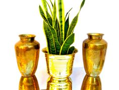 Pair of Large Vintage Hand Hammered Brass Vases || Hollywood Regency / Eclectic Home Decor by ElectricMarigold on Etsy