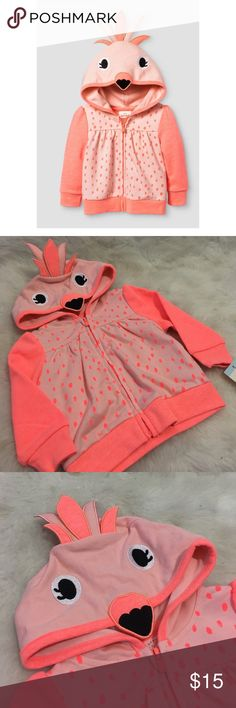Cat & Jack Baby Flamingo Zip Up Hoodie NEW So. ADORABLE! Sold out in stores! Flamingo hoodie with full front zip for easy on/off. Snuggly cotton/polyester fabric. Put the hood up on this baby girls' hoodie and you'll have all the 😻 heart eyes 😻for your little pink flamingo. Brand new with tags!  From smoke and pet free environment. Bundle your likes and I'll send you a private offer! cat & jack Shirts & Tops Sweatshirts & Hoodies