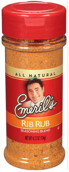 Emeril's Rib Rub 4.72 oz.   My Rib Rub's got a special blend of spices for kicked-up, rib ticklin' flavor. I use 2 kinds of paprika, 2 kinds of pepper, ground mustard and other great stuff. Oil 'em first, and use about 1/3 cup of Rub to cover each rack.