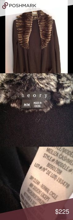 Theory Meilliza Fur collar Cashmere cardigan (M) Plush rabbit fur trims this classic cashmere cardigan (two small pockets in front) Long-sleeves. Barely worn. No pulls or stains at all. Theory Sweaters Cardigans