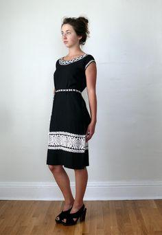 Vintage 1960s Black and White Embroidered Dress by LonePony #loneponyvintage #vintage #vintagedress #embroidery #bw #blackandwhite #littleblackdress #fashion