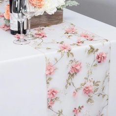 Beautiful Wine Red Trail Embroidery Sheer Double Layer Thick Table Runner