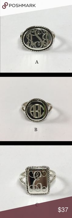 Sterling Silver Engraved Rings Beautiful and stylish sterling silver rings available. All rings are 925 stamped sterling silver all the way through. The initials of your choice are included. Ring sizes 5-10. There are 4 styles to choose from.  These can be shipped If you are Interested let me know.  These make great presents for grandmothers, aunts, moms, daughters and sisters!  If you have any questions please feel free to message me.   Read Less Jewelry Rings