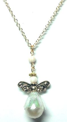 Pearl Body Angel Necklace by teresadelosh on Etsy, $15.00