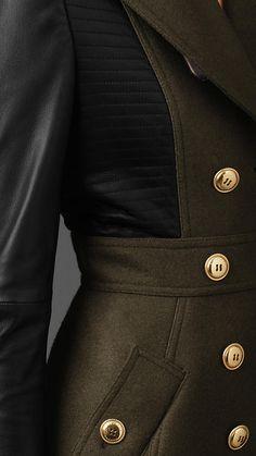 Burberry Leather Sleeve Coat