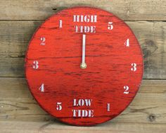 Ideal Sailor and Surfer gift Tide Clock Red and White Painted Driftwood by Reclaimed Time