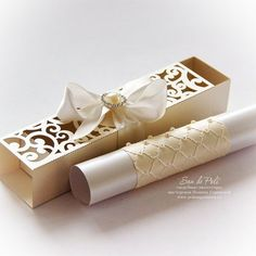 Wedding box invitations scroll roll Card by EasyCutPrintPD on Etsy Wedding Party Invites, Wedding Boxes, Wedding Stationery, Wedding Cards, Wedding Day, Wedding Reception, Destination Wedding, Paper Cutting Patterns, Box Invitations
