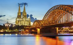 Download wallpapers Cologne, lights, Cologne Cathedral, bridge, Germany, Europe