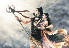 Shiva and Sati (Devon Ke Dev Mahadev) Rudra Shiva, Mahakal Shiva, Shiva Statue, Shiva Art, Durga Painting, Lord Shiva Painting, Shiva Parvati Images, Lord Krishna Images, Angry Lord Shiva