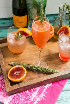Blood Orange Rosemary Spritzer #SundaySupper from The Girl In The Little Red Kitchen