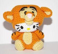 Hello Kitty Doll - Hello Kitty Tigger Amigurumi Crocheted.