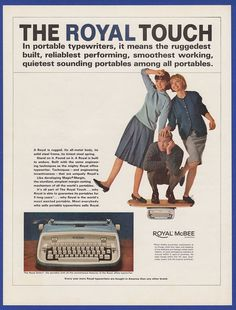 Vintage 1964 ROYAL Safari Portable Typewriter Office Decor RARE Print Ad 1960's