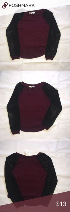 PacSun long sleeve shirt PacSun long sleeve shirt. Black & plum. Mesh sleeves PacSun Tops Tees - Long Sleeve