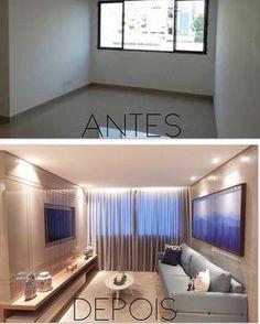 Esse 'Antes e Depois' dessa sala de estar ficou lindo! Decor, Room Makeover, Low Ceiling, Small Spaces, Home, Home Remodeling, Home Renovation, Bathrooms Remodel, Trendy Home
