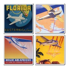 Smithsonian Travel Poster Coaster - Set of Four Monogram Coasters, Agate Coasters, Ceramic Coasters, Wooden Coasters, Pilot Gifts, Air And Space Museum, Vintage Metal Signs, France, Vintage Travel Posters