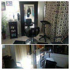 My home salon so far. Laundry room converted into salon.