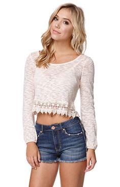 LA Hearts Crochet Trim Zip Back Top #pacsun