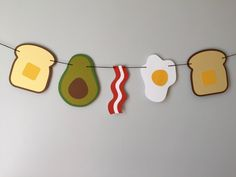 BREAKFAST FOOD banner  // bacon, toast, avocado, fried egg, breakfast decor, kitchen decor, ron swanson by brokebitchpaperco on Etsy https://www.etsy.com/listing/241767799/breakfast-food-banner-bacon-toast