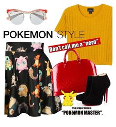 pokemon style by maria-maldonado on Polyvore featuring polyvore, fashion, style, Monki, Christian Louboutin, Louis Vuitton, Prada, O-Mighty, Pokemon and pokemonstyle