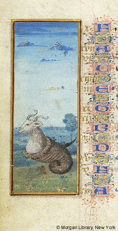 Capricornus (Capricorn) | Book of Hours | France, Angers |  between 1465 and 1470 | The Morgan Library & Museum