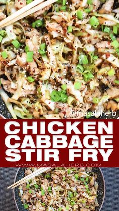 Quick Chicken Cabbage Stir Fry Recipe - Flavorful Asian Chinese stir-fry meal, ready within 15 minutes. one-pan, low-carb, gluten-free, low calorie, easy dinner idea, dinner for two, oriental recipe, healthy recipe main course, chicken dish, homemade asian recipe, ginger and garlic, skillet recipe, www.MasalaHerb.com #chicken #cabbage Healthy Low Calorie Meals, Healthy Pasta Recipes, Healthy Pastas, Low Carb Recipes, Healthy Eating, Liw Calorie Meals, Easy Low Calorie Dinners, Gluten Free Dinners, Low Calorie Chicken Recipes