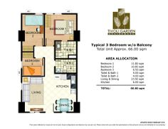 3 Bedroom Unit without Balcony 66 sq meters