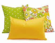 Yellow Decorative Pillow 12x18 Lumbar Cushion by PillowThrowDecor