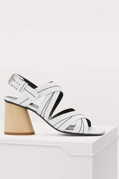 Buy PROENZA SCHOULER Wooden heel sandals online on Shop the latest trends - Express delivery & free returns. White Heels, White Sandals, Strappy Block Heel Sandals, Proenza Schouler Shoes, Logo Shoes, Frauen In High Heels, Fashion Heels, Spring Shoes, Womens High Heels