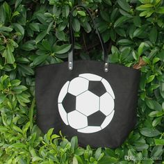 Tote bags Sport Football Cotton Canvas tote bag with PU Wrist Cotton Canvas