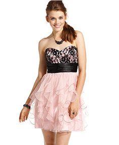Roberta Dress, Strapless Ruffled Sweetheart - Juniors Dresses - Macy's
