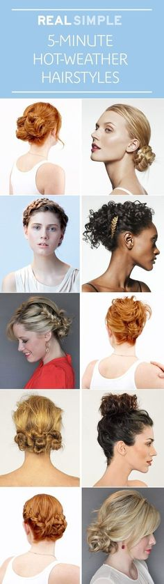 5-Minute Hot-Weather Hairstyles via #RealSimple #hairdo