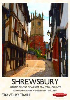 Items similar to Vintage Railway Style Poster Shrewsbury on Etsy Posters Uk, Train Posters, Railway Posters, Illustrations And Posters, Shrewsbury England, Shrewsbury Shropshire, British Travel, Tourism Poster, Sale Poster