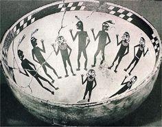 Anasazi pottery | Mogollon ptd bowl with men and women in some ritual scene
