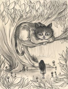 """Cheshire CAT - """"But I don't want to go among mad people,"""" Alice remarked. """"Oh, you can't help that,"""" said the Cat: """"we're all mad here. I'm mad. You're mad."""" """"How do you know I'm mad?"""" said Alice. """"You must be,"""" said the Cat, or you wouldn't have come here."""""""