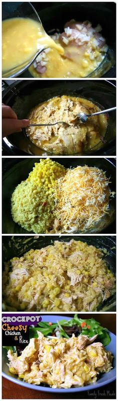 Crockpot Cheesy Chicken and Rice This slow cooker meal is a WINNER! Best dinner ever!