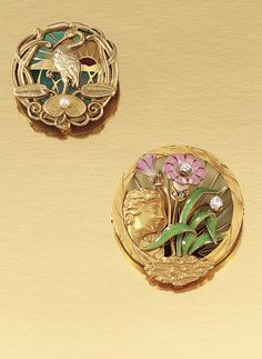 TWO GOLD ENAMEL, PEARL AND DIAMOND BROOCHES, EARLY 20TH CENTURY, with maker's mark for Riker Brothers of Newark.